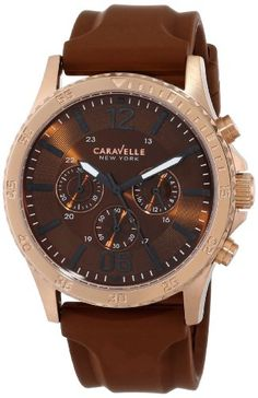 Caravelle New York Men's Analog Display Japanese Quartz Brown Watch Quartz movement Mineral flat crystal Brown dial Stainless steel case and rubber strap Water resistant to 99 feet M): withstands rain and splashes of water, but not showering or submersion Fine Watches, Sport Watches, Watches For Men, Discount Watches, New York Mens, Watch Sale, Watches Online, Luxury Watches, Jewelry Stores
