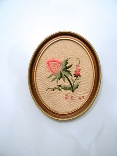 vintage.  60s Oval Needlepoint Wall Hanging by styleforlife