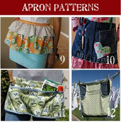 50 apron patterns - this pic gave me an idea of making a half apron with a kangaroo pocket. Half Apron Patterns, Apron Pattern Free, Sewing Patterns, Dress Patterns, Sewing Hacks, Sewing Tutorials, Sewing Crafts, Sewing Projects, Fabric Crafts