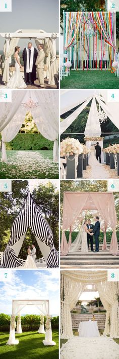 Inspiration for wedding ceremony canopies #huppah #canopy #backdrop