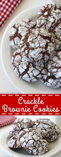 Crackle Brownie Cookies - soft chewy and fudgey just like a brownie. You can make them with your favorite brownie mix. Crackle Brownie Cookies - soft chewy and fudgey just like a brownie. You can make them with your favorite brownie mix. Köstliche Desserts, Holiday Desserts, Holiday Baking, Holiday Recipes, Delicious Desserts, Dessert Recipes, Yummy Food, Chocolate Desserts, Chocolate Party