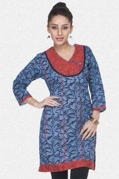 Buy Online Shopping Deals Offers In India Blue & navy floral printed thigh high designer kurti. Features v neckline & 3/4th sleeves. Stylish u shaped red yoke has cloth buttons. Red panelling on the front gives it distinctness. Branded kurti made from 100% cotton material.Looks super-trendy with purple leggings & high heels
