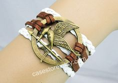 Mockingjay pin braceletwhite and brown  leather by charmcover, $7.99
