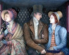The Illustration Cupboard. Mary Settled Back Against The Seat. By Angela Barrett. Through The Tempests Dark and Wild; A Story of Mary Shelley, Creator of Frankenstein. Watercolor. Book Author: Sharon Darrow