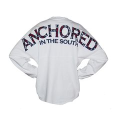 Anchored in the South Spirit Long Sleeve Jersey Oversized Long Sleeve Shirt, Long Sleeve Tops, Long Sleeve Shirts, Oversized Tops, Nautical Tops, Nautical Shirt, Preppy Style, My Style, Anchor Shirts