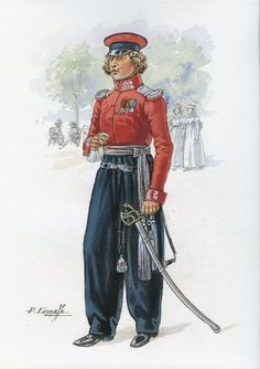 SOLDIERS- Courcelle: NAP- Russia: Russian Imperial Guard, Cossack Squadron, Officer, Tenue de Sortie, Paris, 1814, by Patrice Courcelle.