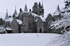 Ardverikie House – Loch Laggan, Scottish Highlands - in the snow. Romantic image.
