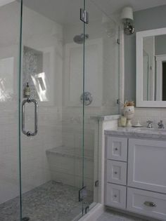 tiles inside shower ... level on bottom, angled on upper half ... Bathroom White Subway Tile With Marble Shower Design, Pictures, Remodel, Decor and Ideas - page 2