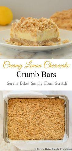 Creamy Lemon Cheesecake Crumb Bars! A must make!
