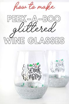 How to make peek-a-boo glittered wine glasses - Peek-a-boo wine glasses are a fun upgrade to glitter dipped glasses that are so easy to make! They're perfect for gift giving or simply adding a festive seasonal touch to your beverage! Glitter Wine Glasses, Diy Wine Glasses, Painted Wine Glasses, Glitter Wine Bottles, Decorated Wine Glasses, Decorated Bottles, Painted Bottles, Stemless Wine Glasses, Christmas Glasses
