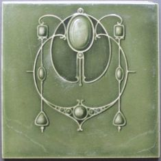 Terrific art nouveau design depicting fabulous jewels and swirling tendrils by H. & R. Johnson, Ltd., Cobridge, England, design registered in 1908. The tile is in excellent condition, having been clipped...