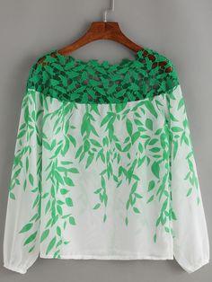Boat+Neck+Lace+Insert+Print+Chiffon+Shirt+10.99