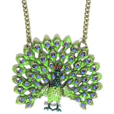 Magic Metal Peacock Necklace Blue Green Feathers Vintage Exotic Bird... ($7.90) found on Polyvore