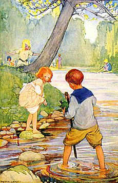 Looking for classic children illustration? Find great examples from the Golden Age of Illustration. Art And Illustration, Antique Illustration, Illustrations Posters, Vintage Illustrations, Vintage Children's Books, Vintage Art, Nostalgic Art, Lake Art, Kids Story Books