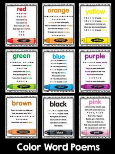 Free Printables. Learn how to spell the colors with these jazzy little jingles (from the Color Songs CD by Frog Street Press). My son's PreK teacher uses these! They work! Kids learn how to spell their color words very easily when they learn it in a song.