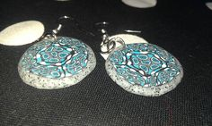 faux granite and turquoise polymer clay dangle earrings! www.mollysdreams.etsy.com