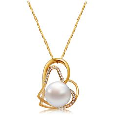 Women's Fashionable Dual-Heart Style Alloy + Crystal Pendant Necklace - Golden