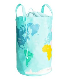 Large storage basket in cotton twill with a printed map pattern. Two handles, plastic coating inside, and top section in more lightweight fabric Large Storage Baskets, Storage Bins, Storage Solutions, Plastic Coating, Map Globe, H&m Home, H&m Online, Turquoise, Cool Things To Buy