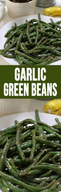 Garlic Green Beans are a simple, easy to make side that is delicious (fall vegetable sides) Side Dish Recipes, Vegetable Recipes, Vegetarian Recipes, Cooking Recipes, Healthy Recipes, Veggie Dishes, Food Dishes, Coconut Dessert, Garlic Green Beans