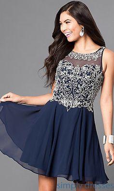 Sleeveless Rhinestone Embellished Short Dress