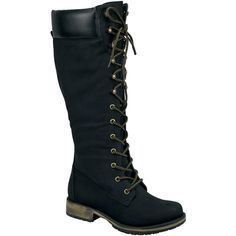 Nature Breeze Black Lauren Boot (19.525 CLP) ❤ liked on Polyvore featuring shoes, boots, knee-high boots, knee boots, laced boots, knee high boots, black knee high lace up boots and short heel boots