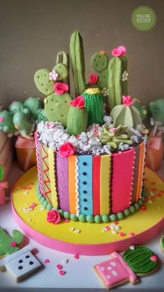 Trendy Ideas For Succulent Cake Wedding Pretty Cakes, Cute Cakes, Beautiful Cakes, Yummy Cakes, Amazing Cakes, Cactus Cake, Cactus Cupcakes, Cactus Cactus, Cactus Flower
