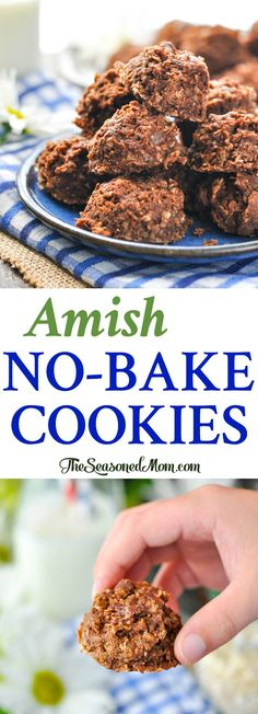 These Amish No Bake Cookies are an easy dessert that kids adore! Chocolate Peanut Butter Cookies | Oatmeal Cookies | Easy Cookie Recipes | Desserts for Parties #ad