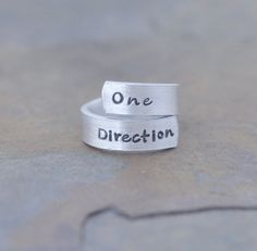 One direction hand stamped twist ring - 1D - One Direction - music - Boy band on Etsy, $8.00