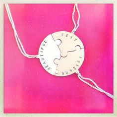 3 friends puzzle necklace ~ Culinary Tactics Suggest s You Look @ Jewelery By Janine Binneman ~ We Luv It ~  Design on hellopretty.co.za 3 Friends, Cool Girl, Washer Necklace, I Am Awesome, Jewelery, Handmade Jewelry, Clock, African, Bling