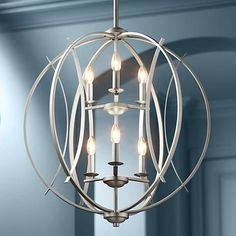 "Possini Euro Spherical 24 ""W Pendelleuchte aus gebürstetem Nickel - Kronleuchter Chandelier Design, Entry Chandelier, Kitchen Lighting Fixtures, Ceiling Lights, Pendant Chandelier, Light Fixtures, Bronze Chandelier, Room Lamp, Pendant Lighting"