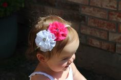 A personal favorite from my Etsy shop https://www.etsy.com/listing/273107808/white-and-pink-double-flower-headband