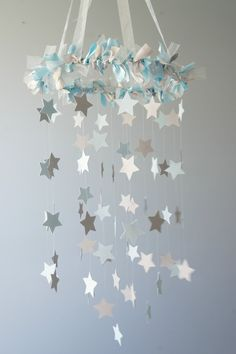 Boy Nursery Decor - Nursery Mobile Stars in Baby Blue & Gray. $63.00, via Etsy.