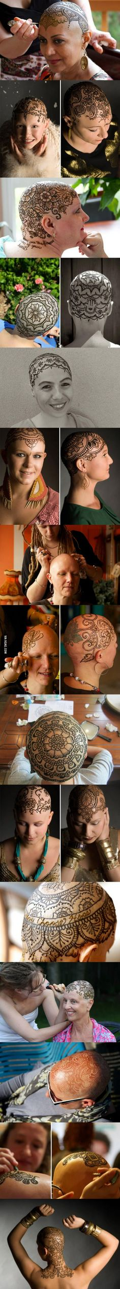 Elegant Henna Tattoo Crowns Help Cancer Patients Cope With Their Hair Loss...I love this. It's so incredibly beautiful and the look on their faces...lovely, every one of them.
