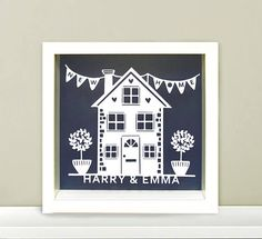 New Home Personalised Papercut Frame. Perfect Moving In Gift First Home Gifts, New Home Gifts, Paper Cards, Paper Gifts, Frame Crafts, Craft Frames, Custom Made Gift, Paper Cut Design, Personalised Frames