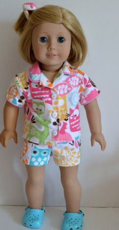 18 Inch Doll Clothes  Handmade  Flannel Shortie by SMILESEWSWEET, $12.00