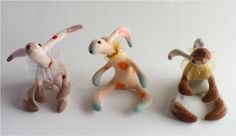 Trio of needle felted hares by Gretel Parker ©