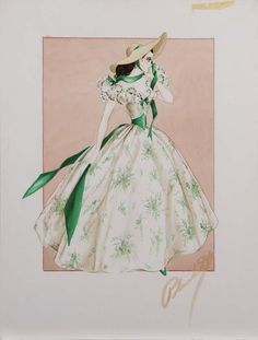 Walter Plunkett Sketch for Viven Leigh in Gone With the Wind - The Barbeque dress.