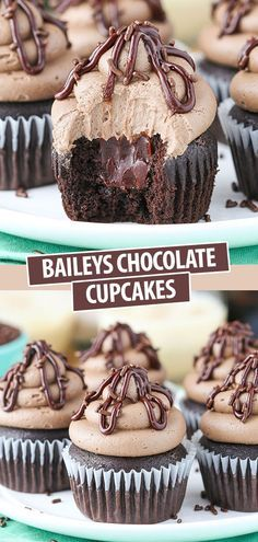 These Baileys Chocolate Cupcakes are made with a moist chocolate cupcake, Baileys chocolate ganache filling and Baileys frosting! One of my favorite flavor combos – these cupcakes are delicious! easy no bake Fluffy Baileys Chocolate Cupcakes Chocolate Ganache Filling, Chocolate Cake Recipe Easy, Chocolate Recipes, Chocolate Drip, Chocolate Baileys, Moist Chocolate Cupcakes, Chocolate Cupcakes Decoration, Chocolate Spread, Delicious Chocolate
