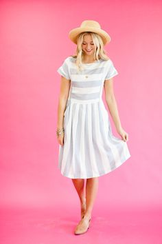 Blue and White Stripe Dress for Spring | ROOLEE
