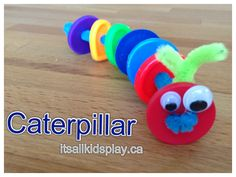 Button // Caterpillar Craft // The Very Hungry Caterpillar  #theveryhungrycaterpillar