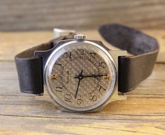 Vintage NOS Pobeda mens watch textured silver dial russian watch ussr cccp