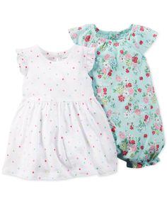 46b7407ba Carter's Baby Girls' 2-Pack Dot Dress & Floral Romper Set & Reviews - Sets  & Outfits - Kids - Macy's