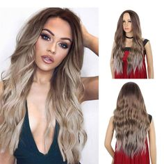 24 Inches Ombre Brown Wig Synthetic Long Wigs for Women Natural Wave Hair Wigs Middle Part Heat Resistant Natural Looking Wigs - 24inch / R120906#