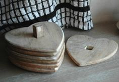 set of six wooden heart coasters by alphabet interiors | notonthehighstreet.com