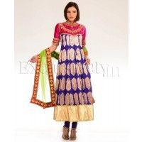 #Exclusively.in, #Indian Ethnic wear, Purple Brocade Suit with Pink Zari Embroidered Yoke