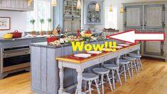 Swedish-Style Kitchen - paint the island blue! Swedish Kitchen, Country Kitchen, New Kitchen, Kitchen Decor, Kitchen Ideas, Rustic Kitchen, Decorating Kitchen, Kitchen Dining, Decorating Ideas