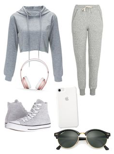 """Sabah sporu kombini jsjsjsj like ;)"" by ayan-cafarzade ❤ liked on Polyvore featuring Topshop, Converse, Beats by Dr. Dre and Ray-Ban"