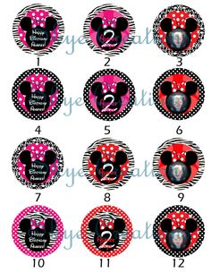 Custom Printable Minnie Mouse Cupcake Toppers or by SkyeCreation, $8.00