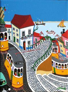 With Pascal Mercier Arte Popular, Illustrations, Illustration Art, Portuguese Culture, Plastic Art, Sea Art, Naive Art, Travel Posters, Folk Art