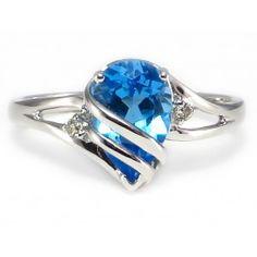 BOLD Wrapped Pear Swiss Blue Topaz Diamond Ring 14k White Gold #WrappedBlueTopazRing #PearBlueTopazRing